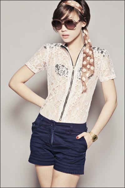 white Glitterati top - navy H&M shorts - brown Chloe sunglasses - brown Forever2