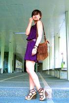 purple Debbie Co dress - brown Promod belt - brown Wanted purse - brown Aldo sho