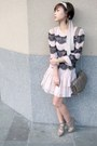 Light-pink-topshop-dress-heather-gray-zara-bag-heather-gray-h-m-heels-gold