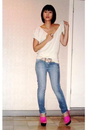 Geoffrey Beene top - vintage belt - Hudson jeans - Topshop shoes
