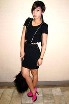 black calvin klein dress - black Vintage Versace belt - black Terranova purse -