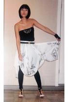 People are People top - Topshop leggings - Carla G skirt - bazaar find belt - St