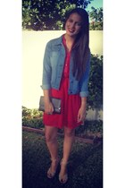 black clutch bag - red flowy dress - denim jacket - nude open toe wedges