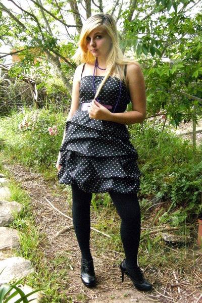 black Legit dress - black falke tights - black Prato shoes - purple Legit belt -