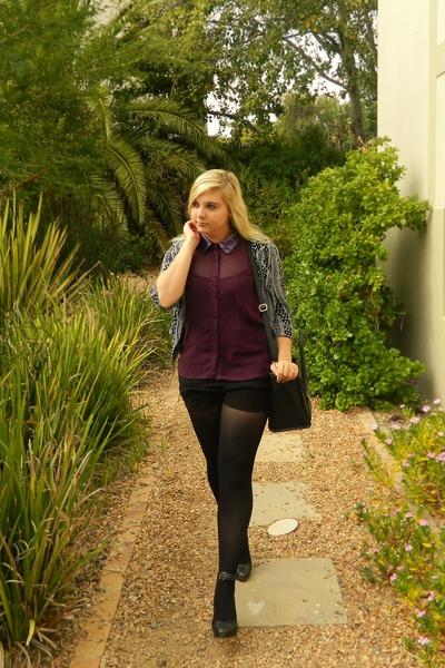 purple Forever 21 blouse - black cotton on blazer - black colette hayman bag