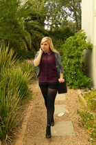 purple Forever 21 blouse - black cotton on blazer - black colette hayman bag