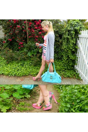 hot pink floral heels - white striped dress - sky blue bag - silver cardigan