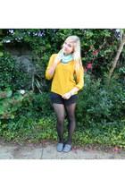 mustard blouse - aquamarine scarf - aquamarine watch - silver flats