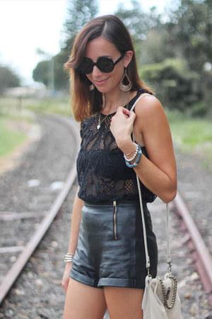 black lace top MIKA & GALA top - white Topshop bag