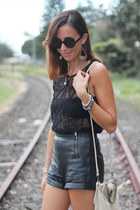 black lace top MIKA & GALA top - white Topshop bag