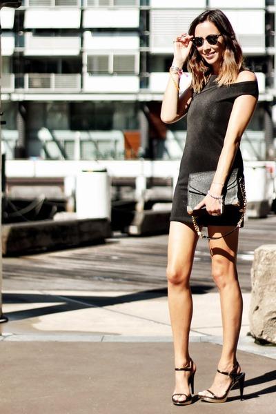 leather bag Nina Maya bag - Nina Maya dress - ray ban shades rayban glasses