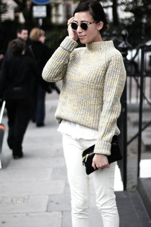 dark khaki chunky knit COS jumper - black wedge booties Zara boots