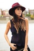 black Zara jeans - maroon Topshop hat - navy sheer blouse Topshop blouse
