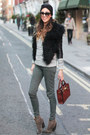 Dark-green-skinny-jeans-zara-pants-black-faux-fur-zara-accessories