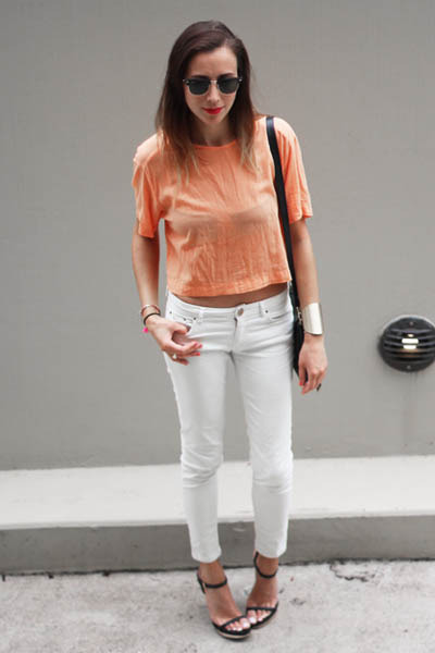 2a4d8ec6c7 Light Orange Bassike Tops, White White Denim Zara Jeans |