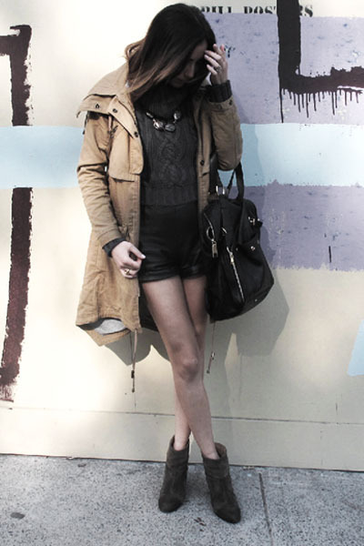 rag & bone boots - asos jacket - YSL bag - Nina Maya shorts - LUV Aj necklace -