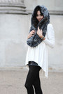 White-stretch-dress-cos-dress-navy-hooded-scarf-reserved-scarf