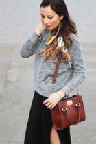 crimson leather box bag vintage bag - black stretch maxi Zara dress