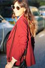 White-sheer-shirt-h-m-blouse-crimson-maroon-blazer-zara-jacket