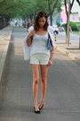 White-sleeveless-tux-nina-maya-jacket-white-tailored-short-h-m-shorts