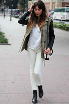 olive green duo tone parka Zara coat - white white demin thrifted jeans