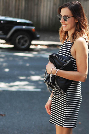 white striped dress Mink Pink dress - black chain bag Stella McCartney bag