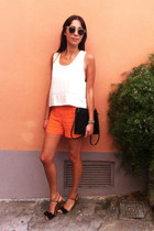 carrot orange COS shorts - white tank top Nina Maya top - black Zara sandals