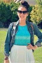 no name skirt - Thrifted Tommy Hilfiger jacket - no name bag - sunglasses