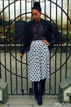 floral blouse - black H&M shoes - black leather jacket - polka dots skirt