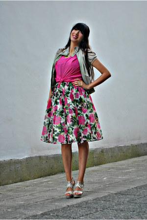 green vintage dress - off white no name jacket - hot pink vintage blouse