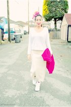 white no name shirt - bubble gum DIY hat - hot pink knit no name sweater