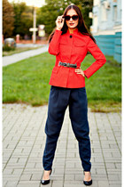 red Zara jacket - crimson velvet asos sunglasses - navy oval asoscom pants
