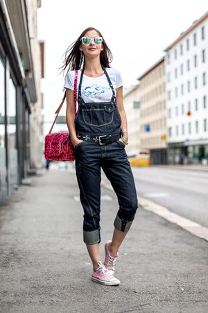 denim dungaree Tommy Hilfiger romper - animal print satchel bag