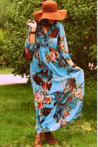 brown floppy hat Catarzi hat - aquamarine unknown brand dress