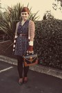 Goodwill-dress-vintage-purse-forever21-cardigan