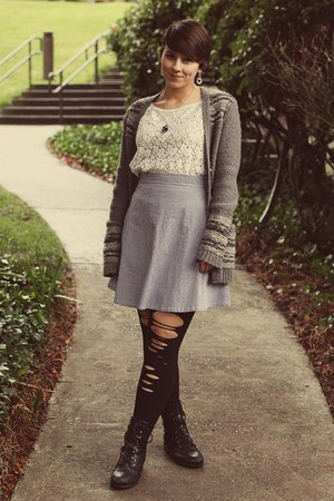 thrifted top - Marshalls boots - American Apparel skirt