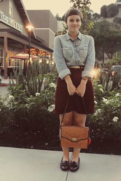 flea market purse - thrifted skirt - JCrew top