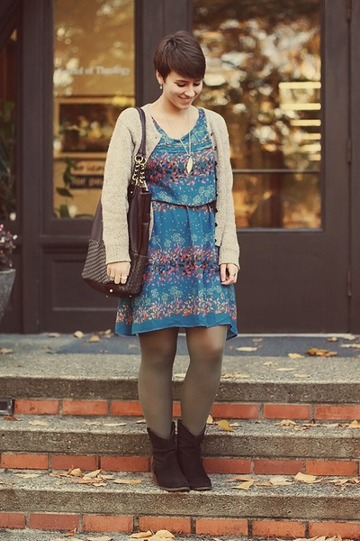 DSW boots - Target dress - vintage cardigan