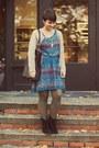 Dsw-boots-target-dress-vintage-cardigan