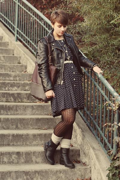 vintage jacket - Ross boots - thrifted dress - Marshalls bag