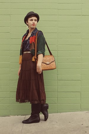 vintage boots - Target hat - thrifted vintage jacket - flea market purse