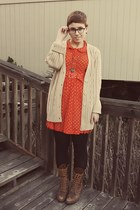 thrifted dress - vintage boots - Goodwill cardigan