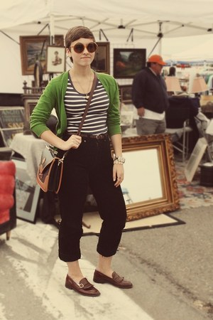 thrifted pants - antique store purse - Goodwill loafers