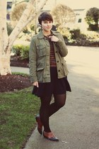 thrifted shoes - Forever 21 dress - Gap jacket - vintage sweater