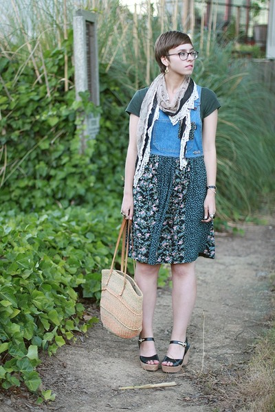 thrifted dress - Gap shirt - vintage bag - TJ Maxx wedges