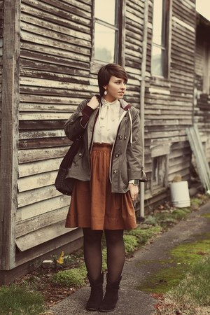 H&amp;M skirt - DSW boots - TJ Maxx jacket - vintage blouse