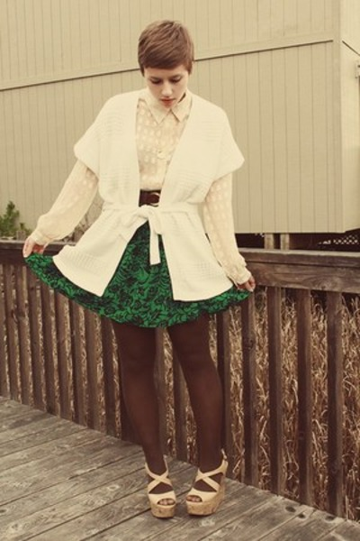 Goodwill blouse - Forever 21 wedges - Old Navy cardigan