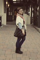 vintage scarf - Marshalls boots - Forever 21 purse - Goodwill blouse