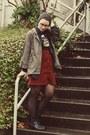 Ross-boots-thrifted-shirt-thrifted-skirt