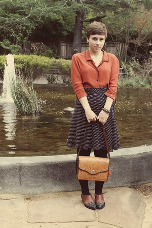 vintage purse - thrifted skirt - vintage blouse